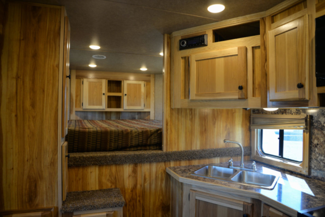 Kitchen Sink  and Stereo in a Charger C8X16BB Horse Trailer | Lakota Trailers