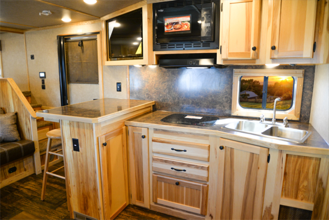 Kitchen in a C8X15SRB Charger Edition Horse Trailer | Lakota Trailers