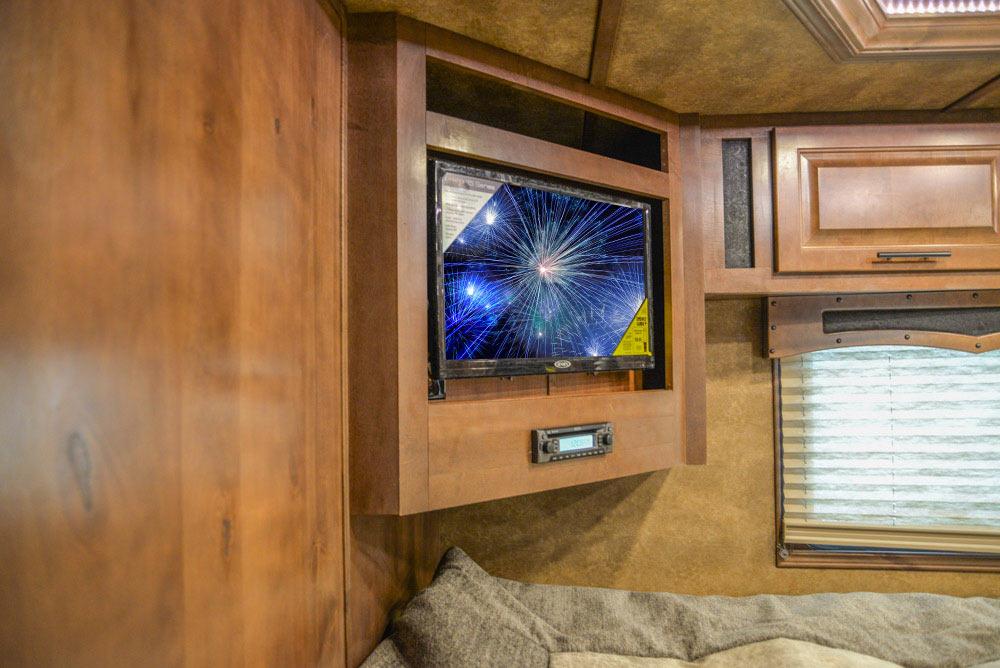 TV in Gooseneck in BLE8X17SRB Bighorn Edition Livestock Trailer | Lakota Trailers