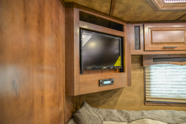TV in Gooseneck of BLE8X17SRB Bighorn Edition Livestock Trailer | Lakota Trailers