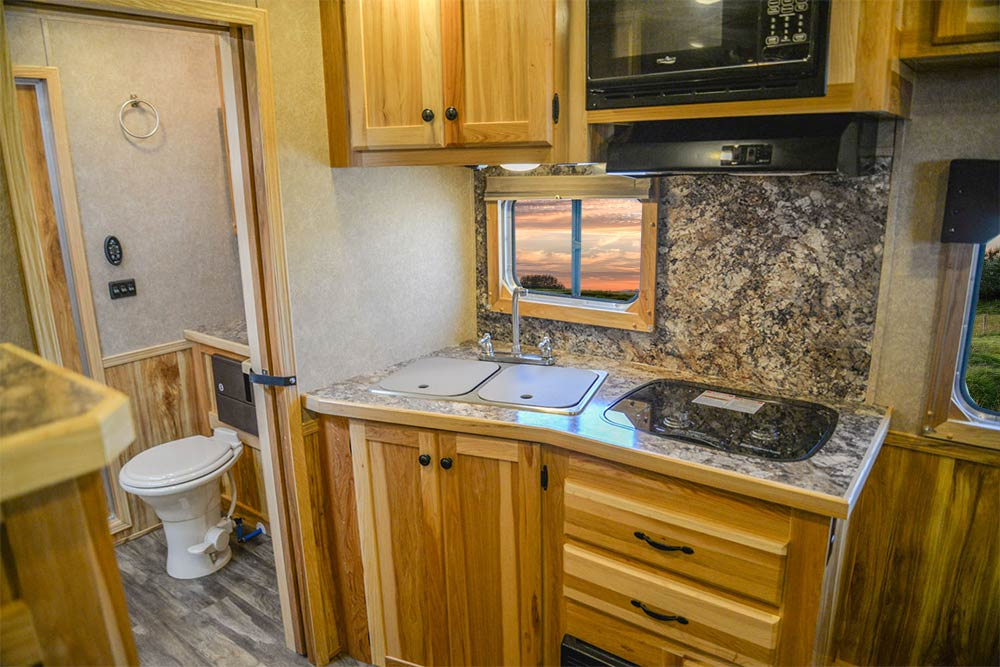 Kitchen Area in LE8X11SR Charger Edition Livestock Trailer   Lakota Trailers