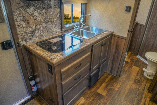 Kitchen Area in CX11 Charger Edition Horse Trailer   Lakota Trailers