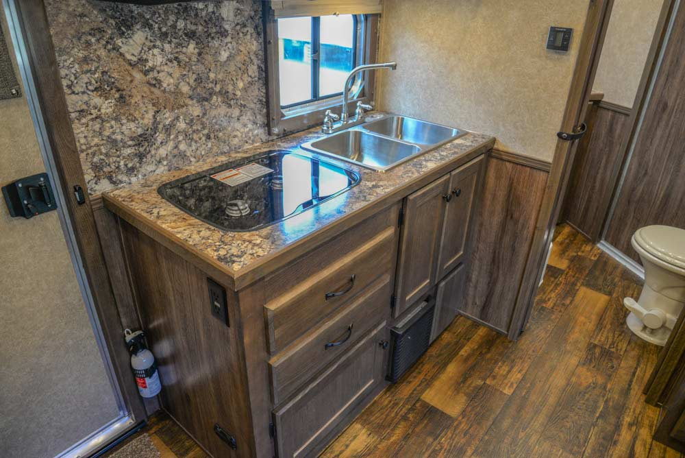 Kitchen Area in CX11 Charger Edition Horse Trailer | Lakota Trailers