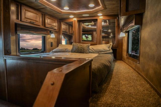 Bed in Gooseneck in BH8X17SRB Bighorn Edition Horse Trailer | Lakota Trailers