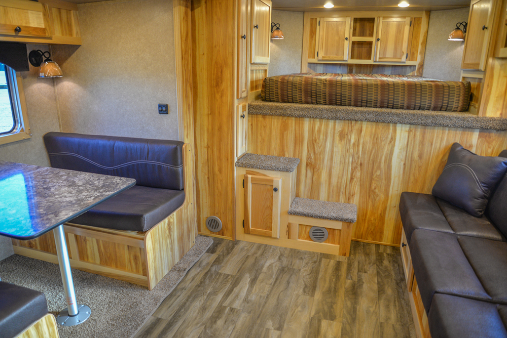 Living Quarters in a C8X15RKB Charger Edition Horse Trailer   Lakota Trailers