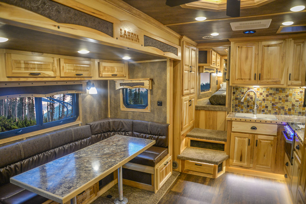 Living Quarters in a BH8X15FKP Big Horn Edition Horse Trailer   Lakota Trailers
