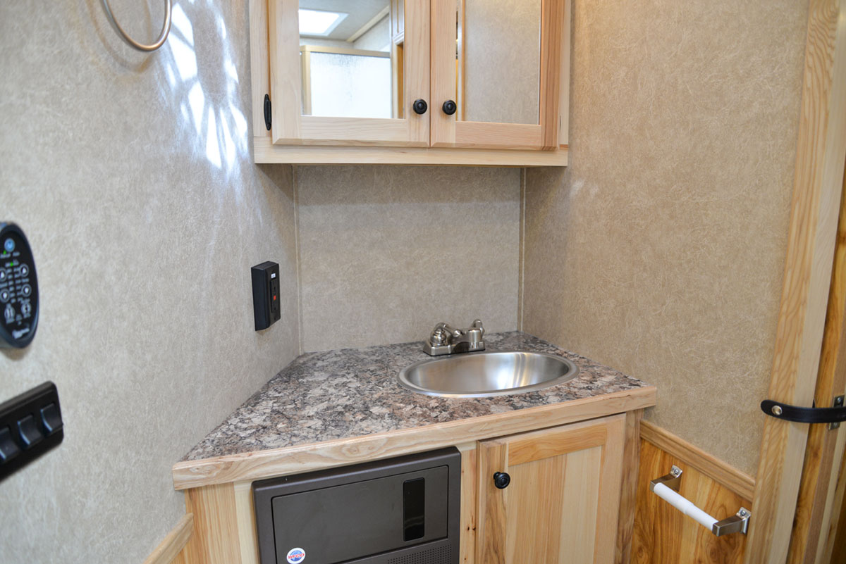 Bathroom in a Charger C8X13.5 Horse Trailer | Lakota Trailers