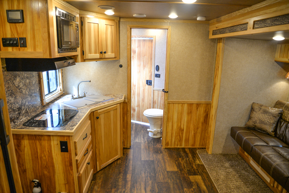 Living Quarters in a Charger Edition C8X11RK Horse Trailer | Lakota Trailers