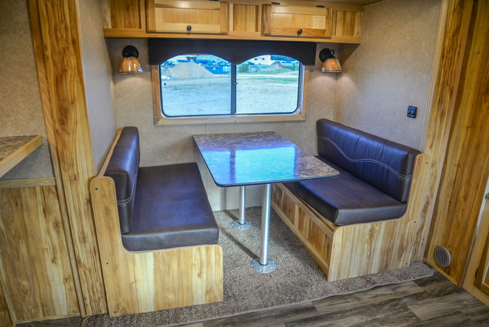 Dinette in a C8X15RKB Charger Edition Horse Trailer | Lakota Trailers