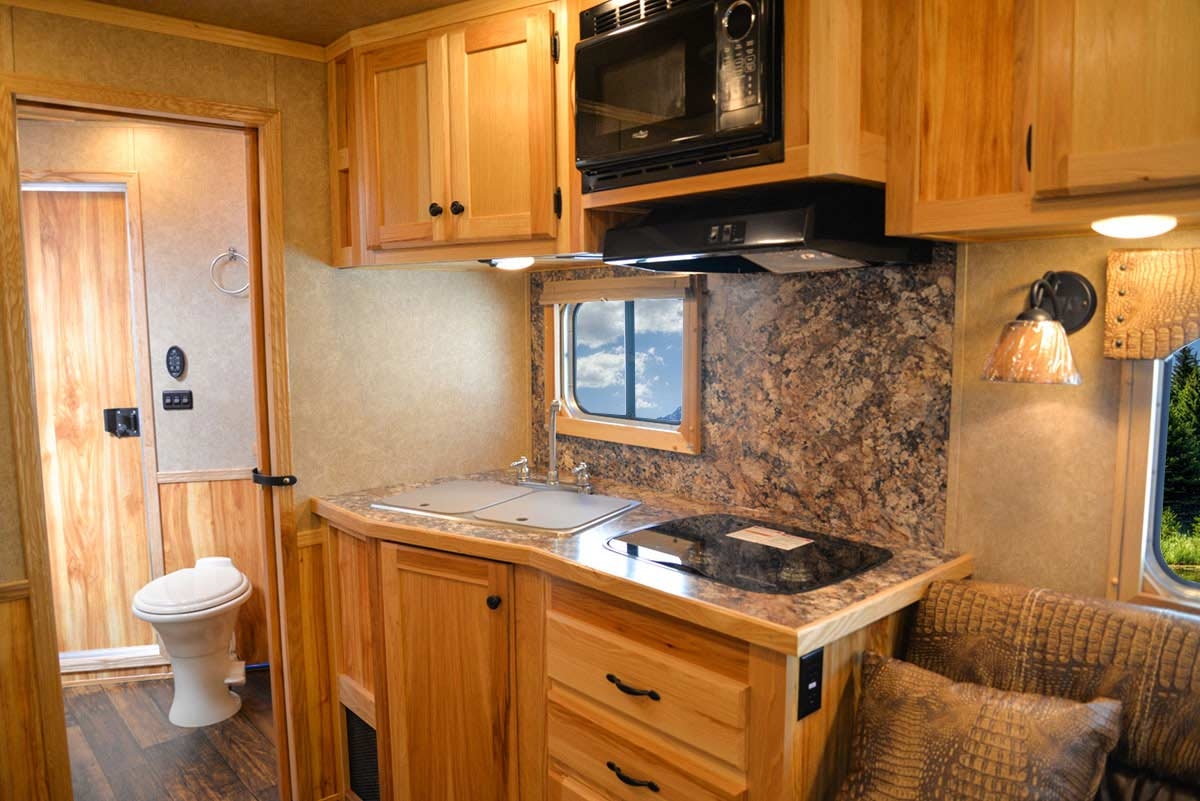 Kitchen in C8X13.5 Charger Edition Horse Trailer | Lakota Trailers