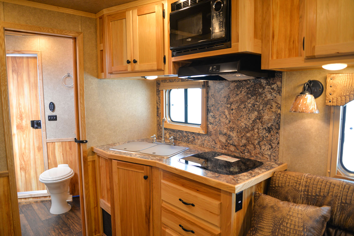 Kitchen in a Charger C8X13.5 Horse Trailer | Lakota Trailers