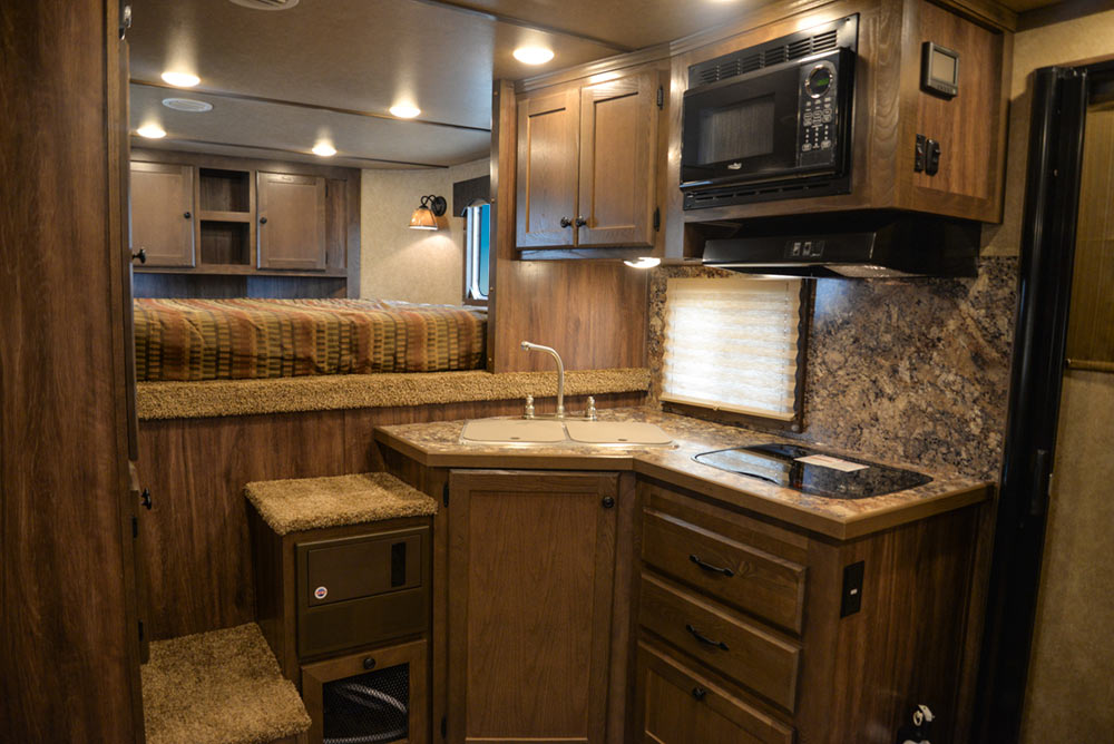 Kitchen Area in C8X11 Charger Edition Horse Trailer | Lakota Trailers
