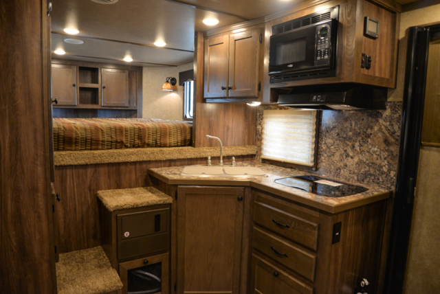 Kitchen in a C8X11 Charger Edition Horse Trailer | Lakota Trailers