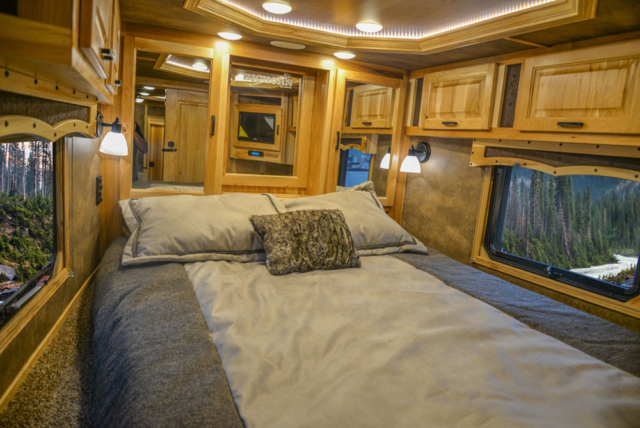 Bed in a BH8X15FKP Big Horn Edition Horse Trailer | Lakota Trailers