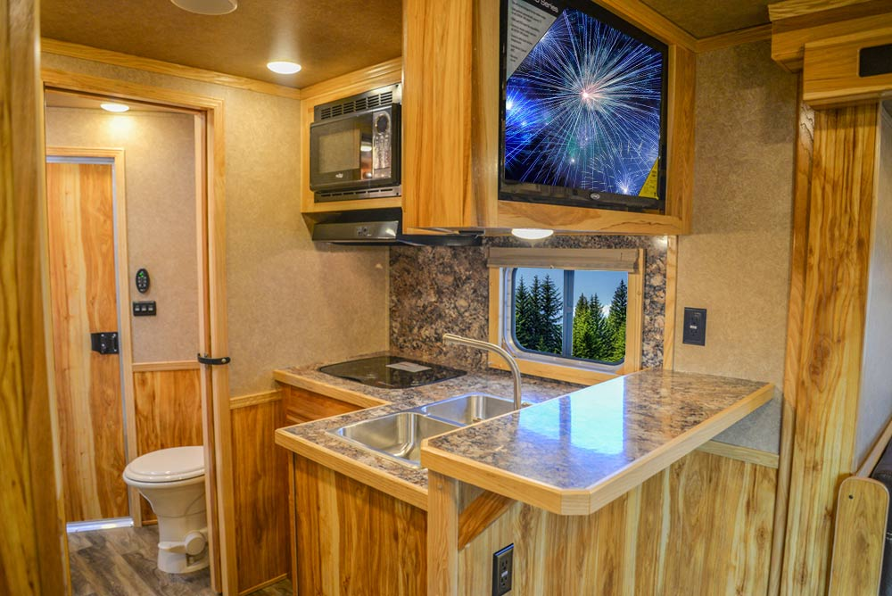 Kitchen Area in C8X15RKB Charger Edition Horse Trailer | Lakota Trailers