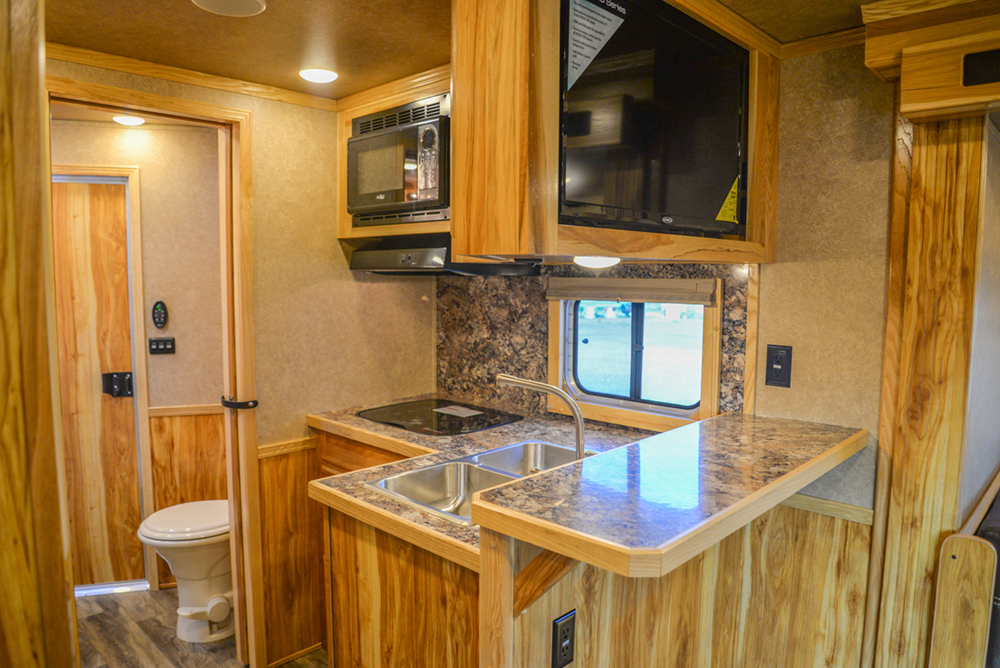 Kitchen in a C8X15RKB Charger Edition Horse Trailer | Lakota Trailers
