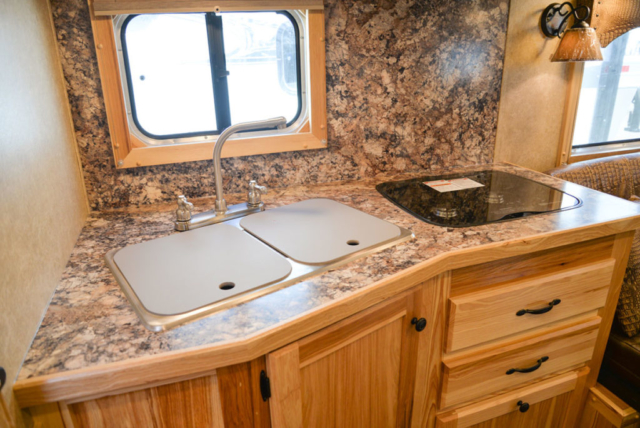 Sink and Stove in a Charger C8X13.5 Horse Trailer | Lakota Trailers