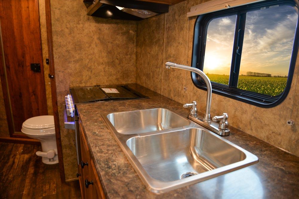 Kitchen Area in AC8X15 Colt Edition Horse Trailer | Lakota Trailers