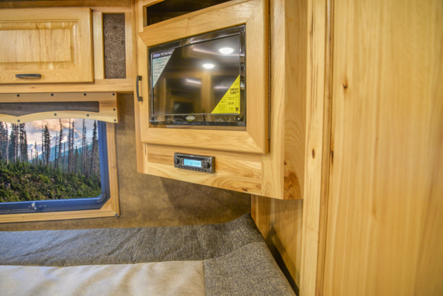 Bedroom TV in a BH8X15FKP Big Horn Edition Horse Trailer | Lakota Trailers