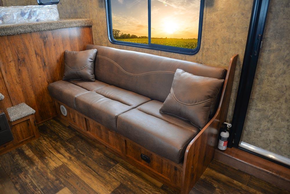 Sofa in AC8X15 Colt Edition Horse Trailer | Lakota Trailers