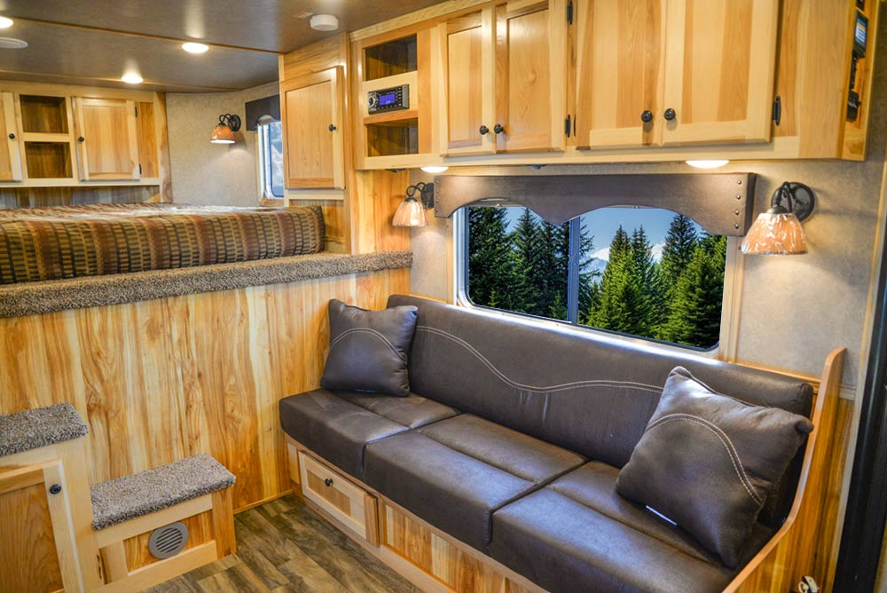 Sofa in C8X15RKB Charger Edition Horse Trailer | Lakota Trailers
