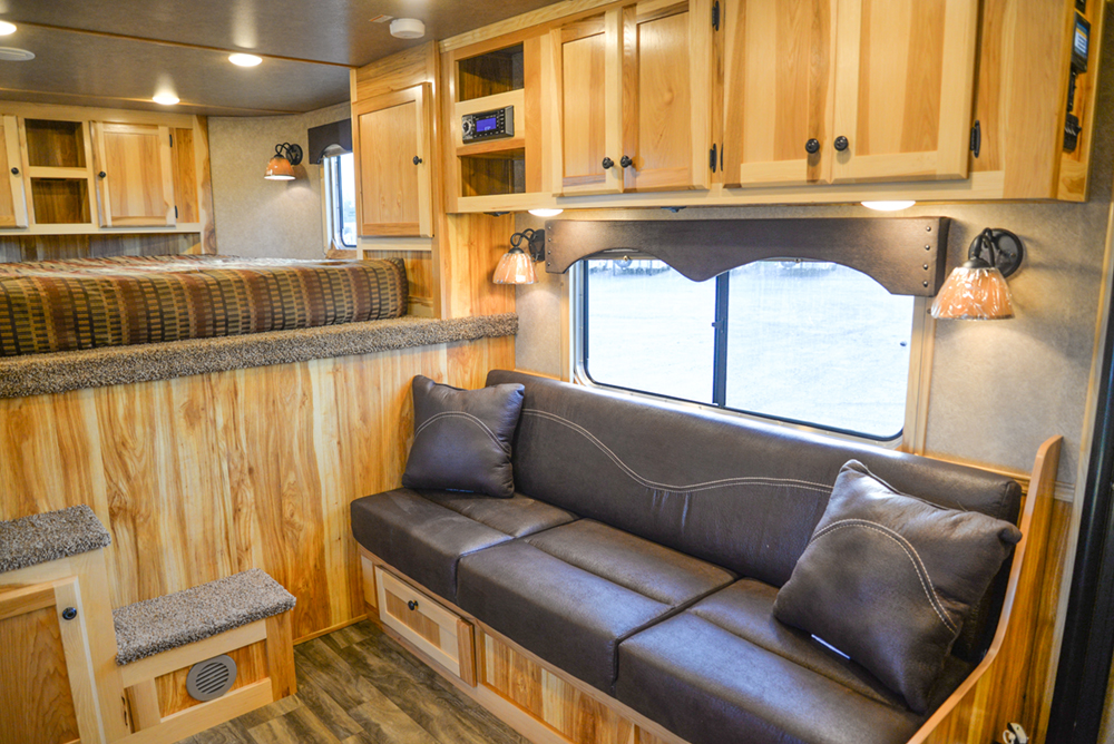 Sofa in a C8X15RKB Charger Edition Horse Trailer   Lakota Trailers