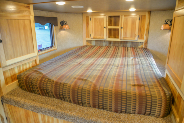 Bed in a C8X15RKB Charger Edition Horse Trailer | Lakota Trailers