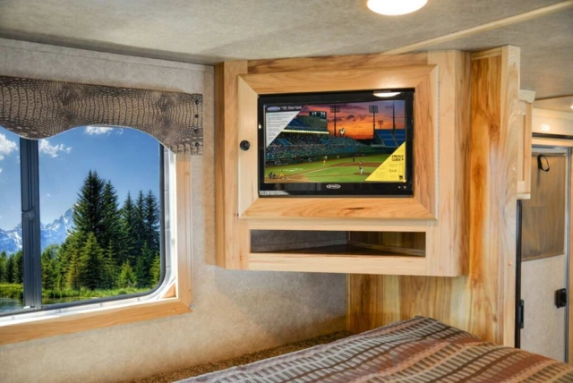 TV in Gooseneck in C8X13.5 Charger Edition Horse Trailer | Lakota Trailers