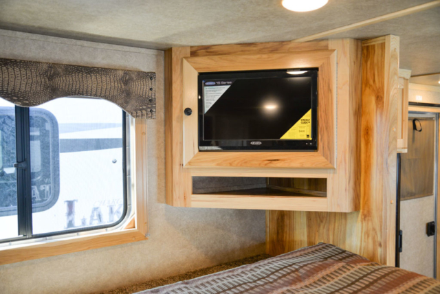Bedroom TV in a Charger C8X13.5 Horse Trailer | Lakota Trailers