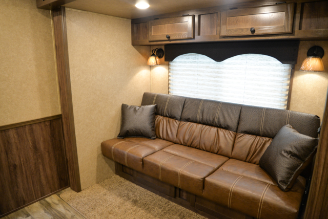 Sofa in a C8X11 Charger Edition Horse Trailer | Lakota Trailers