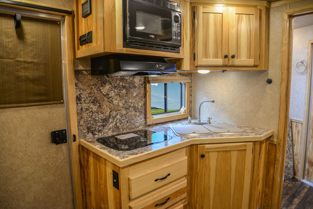 Kitchen Area in C8X11RK Charger Edition Horse Trailer   Lakota Trailers