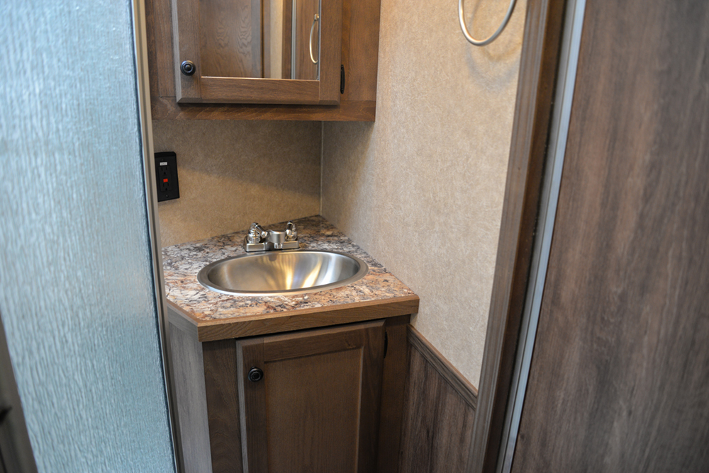 Bathroom in a C8X11 Charger Edition Horse Trailer | Lakota Trailers