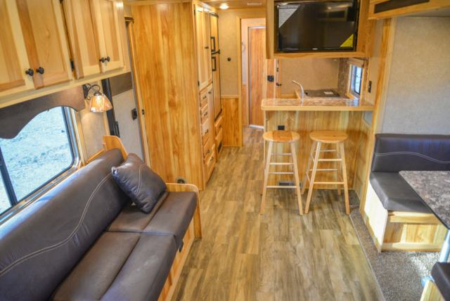 Living Quarters in a C8X15RKB Charger Edition Horse Trailer | Lakota Trailers