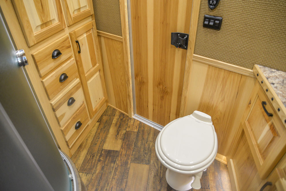 Bathroom in a BH8X15FKP Big Horn Edition Horse Trailer | Lakota Trailers