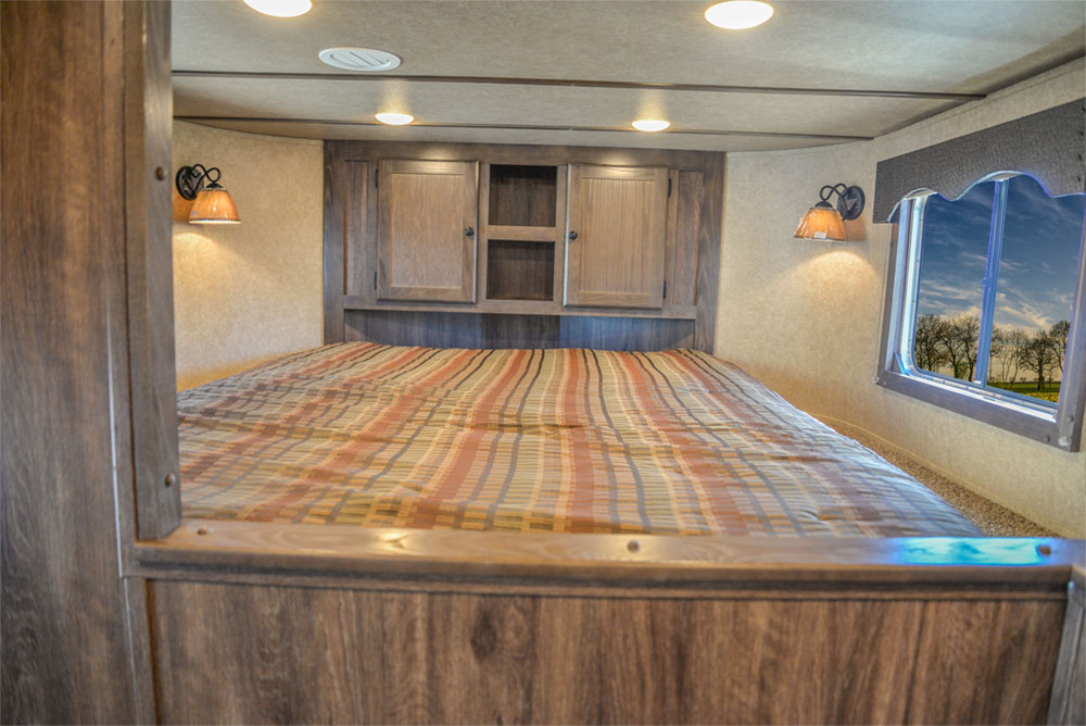 Bedroom in a C8X13SR Charger Edition Horse Trailer | Lakota Trailers
