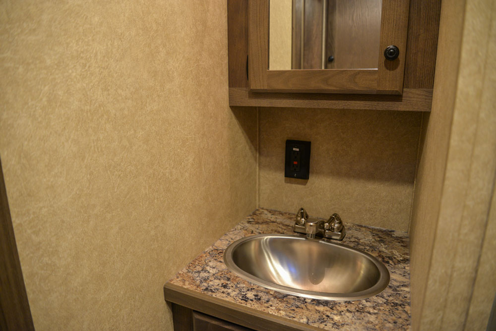 Bathroom in a CX11 Charger Edition Horse Trailer | Lakota Trailers