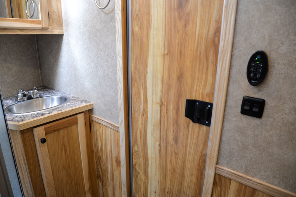 Bathroom in a C8X9SR Charger Edition Horse Trailer   Lakota Trailers