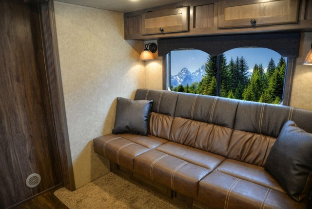 Sofa in C8X13RKB Charger Edition Horse Trailer | Lakota Trailers