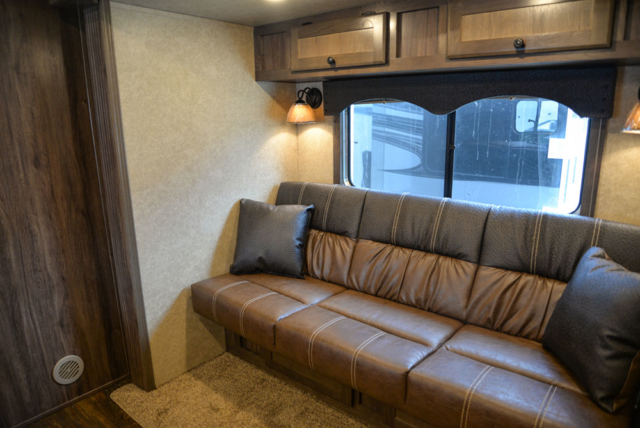 Sofa in a C8X13RKB Charger Edition Horse Trailer | Lakota Trailers
