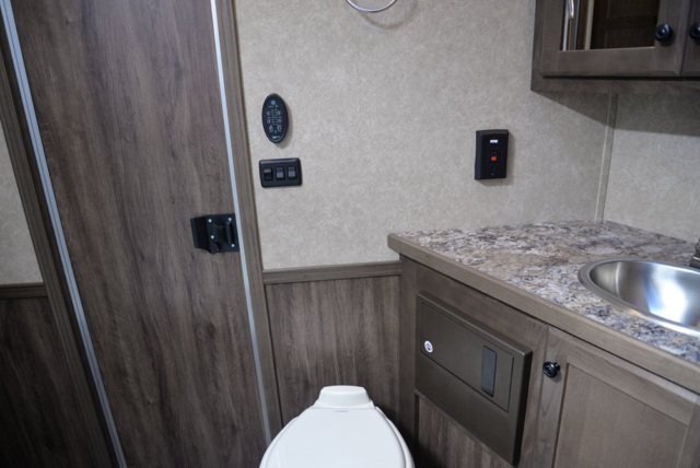 Bathroom in a C8X15SR Charger Edition Horse Trailer | Lakota Trailers