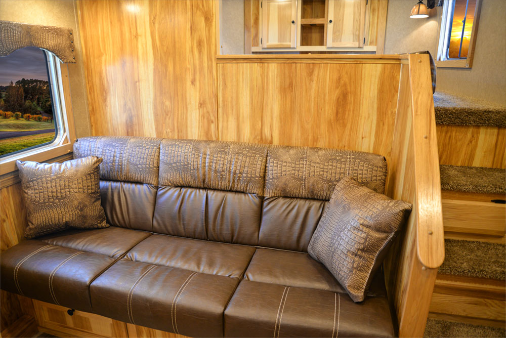 Sofa in a C8X9SR Charger Edition Horse Trailer   Lakota Trailers