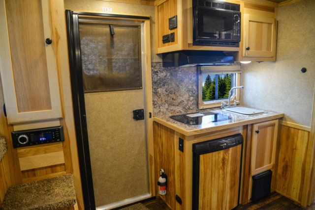 Kitchen Area in C8X9 Charger Edition Horse Trailer | Lakota Trailers
