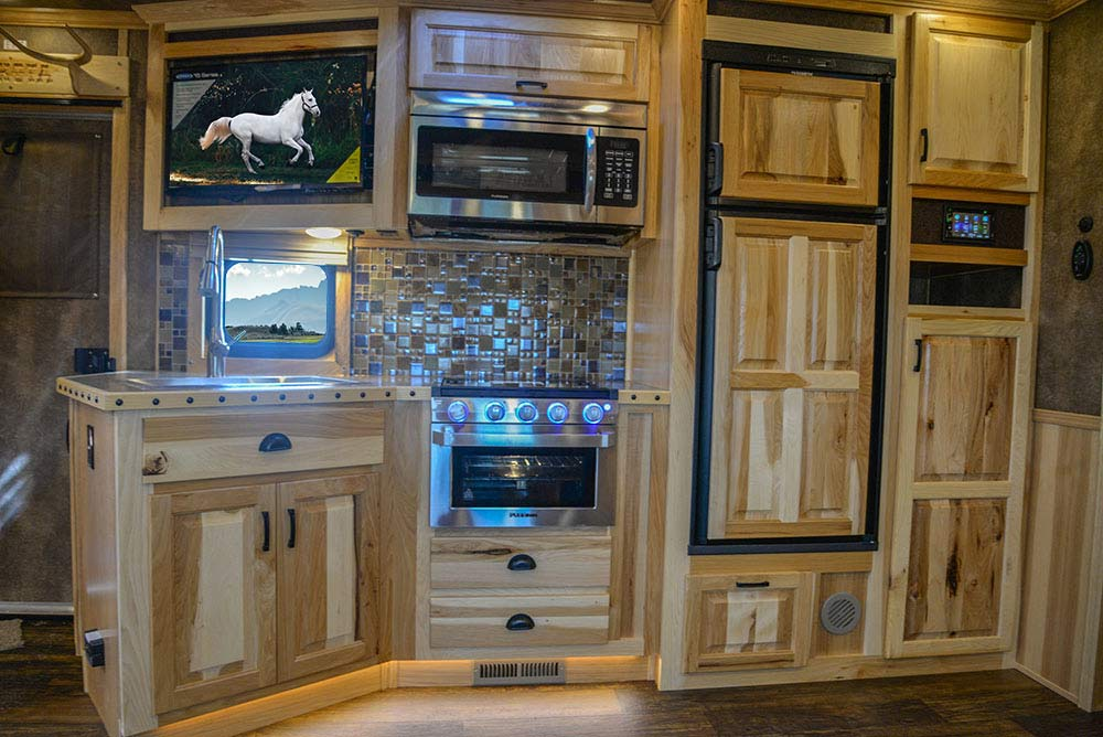 Kitchen Area in BH8X23T2S Bighorn Edition Horse Trailer | Lakota Trailers