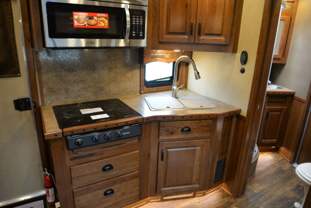 Kitchen in a BH8X11RK Big Horn Edition Horse Trailer | Lakota Trailers