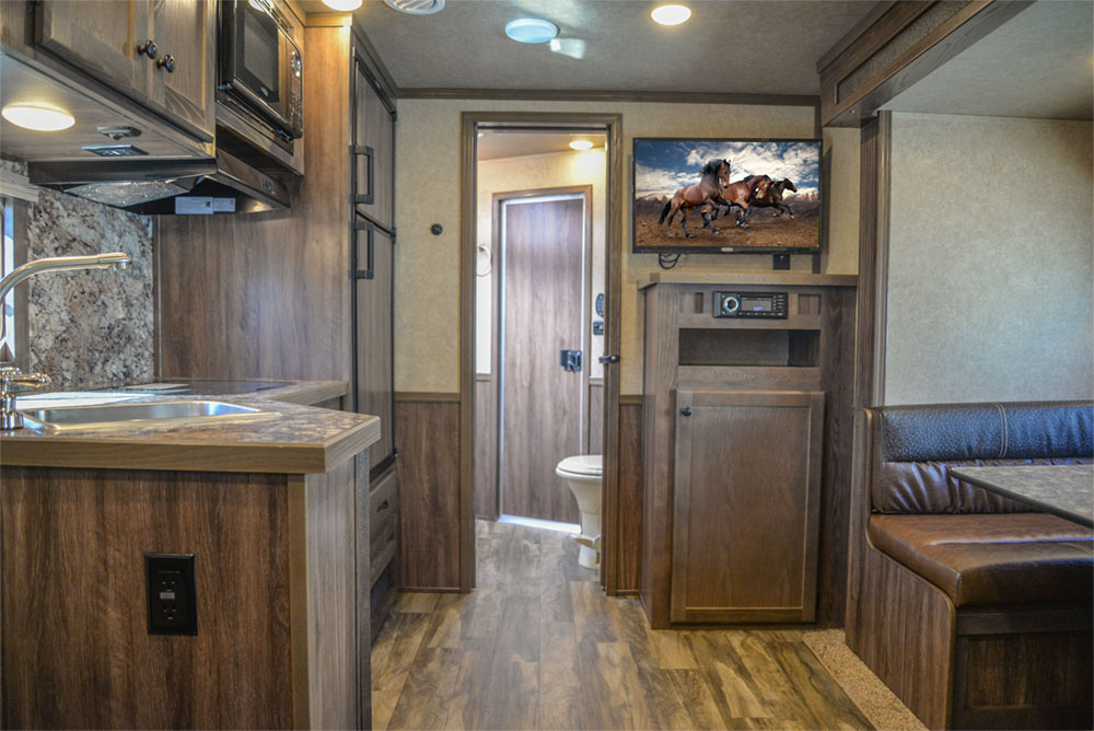 Living Quarters in a C8X13SR Charger Edition Horse Trailer | Lakota Trailers