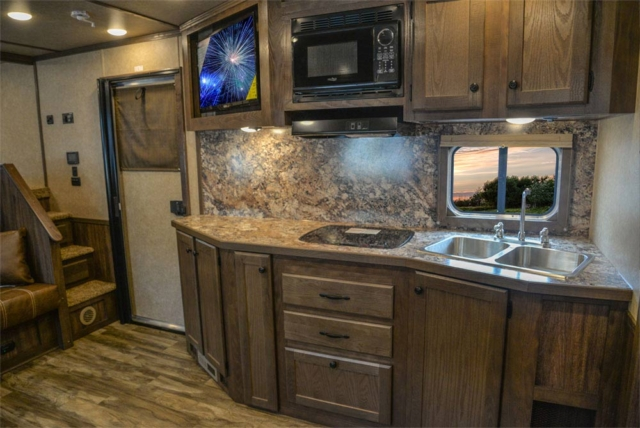 Kitchen Area in C8X15SR Charger Edition Horse Trailer | Lakota Trailers