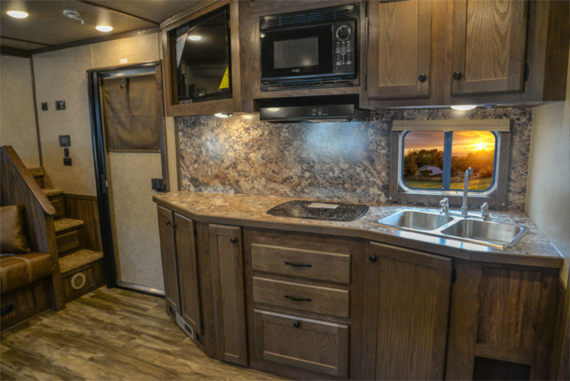 Kitchen in a C8X15SR Charger Edition Horse Trailer | Lakota Trailers