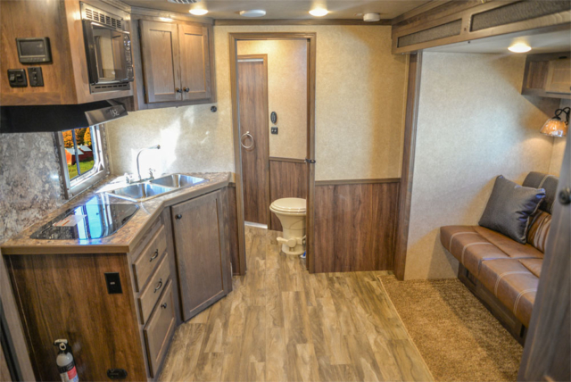 Living Quarters in a LE8X11RK Charger Edition Livestock Trailer | Lakota Trailers