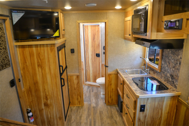 Living Quarters in a C8X9SR Charger Edition Horse Trailer   Lakota Trailers