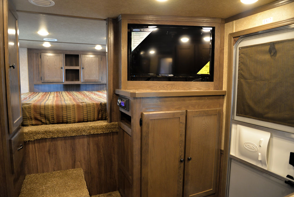 Entertainment System in a C8X13RKB Charger Edition Horse Trailer | Lakota Trailers